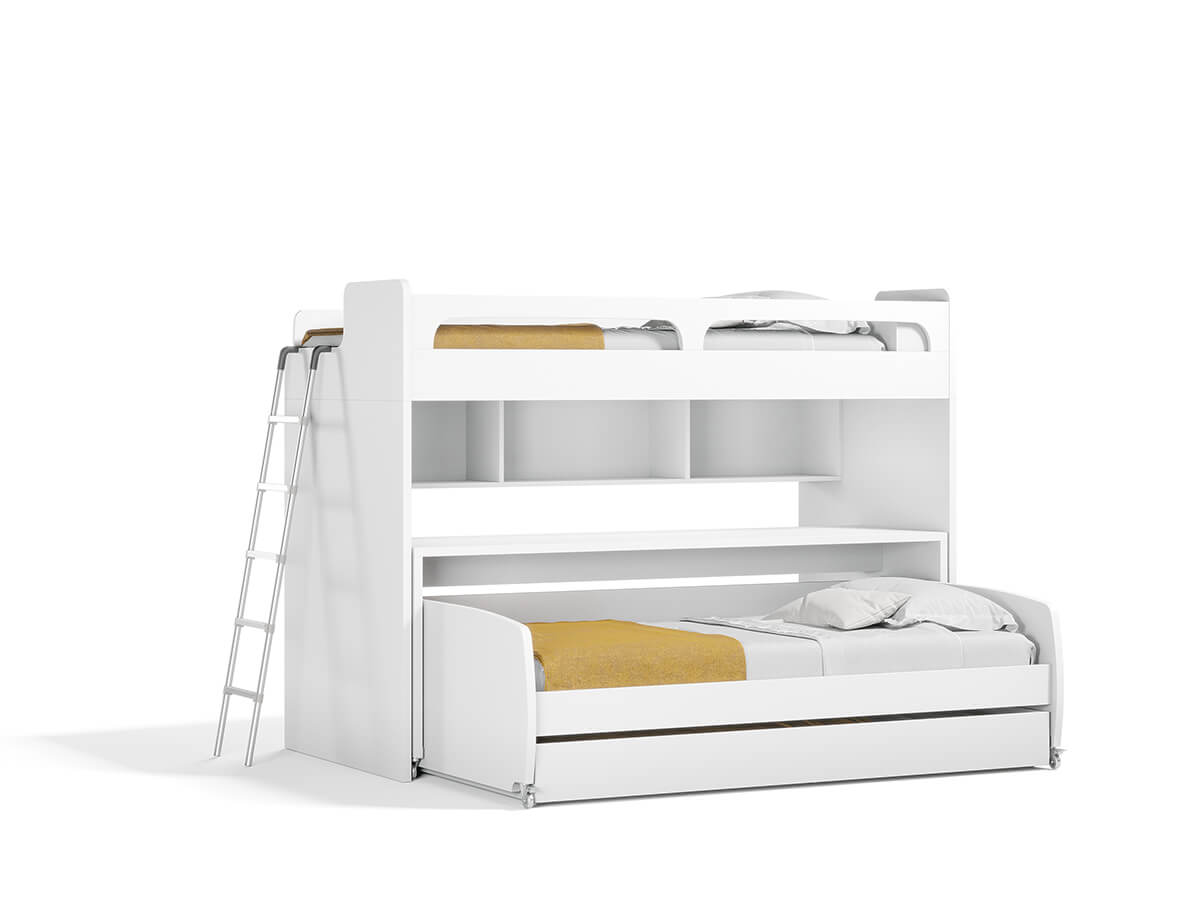 Twin Over Twin Xl Bunk Bed With Sofa Desk And Trundle Bel Mondo