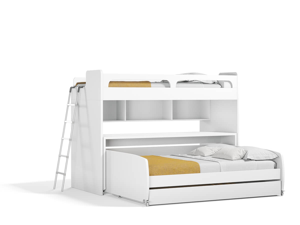 Twin Bunk Bed Over Full Xl Sofa Bed Desk And Trundle Bel Mondo Xl