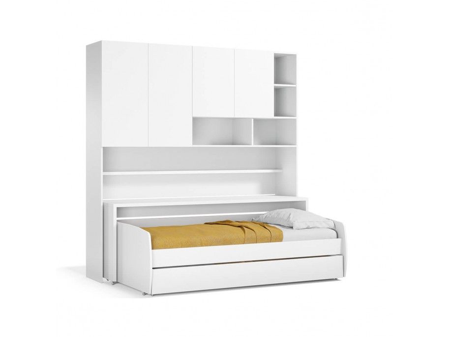 Compact Twin XL Sofa bed and Cabinets Wall System