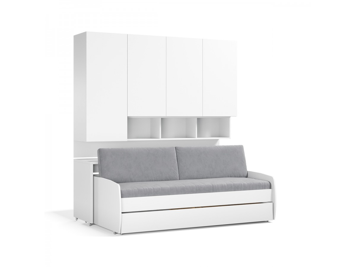 Twin XL Sofa Bed And Cabinets System - Compact