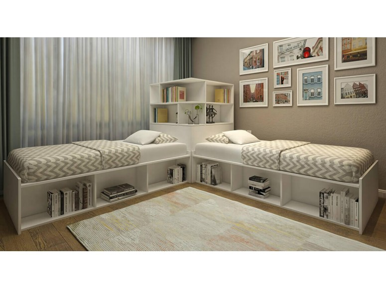 Booth Twin Corner Bed and Storage Hutch Set