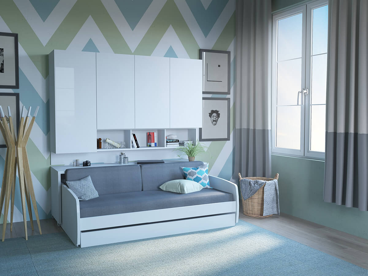 Twin Xl Sofa Bed And Cabinets System Compact