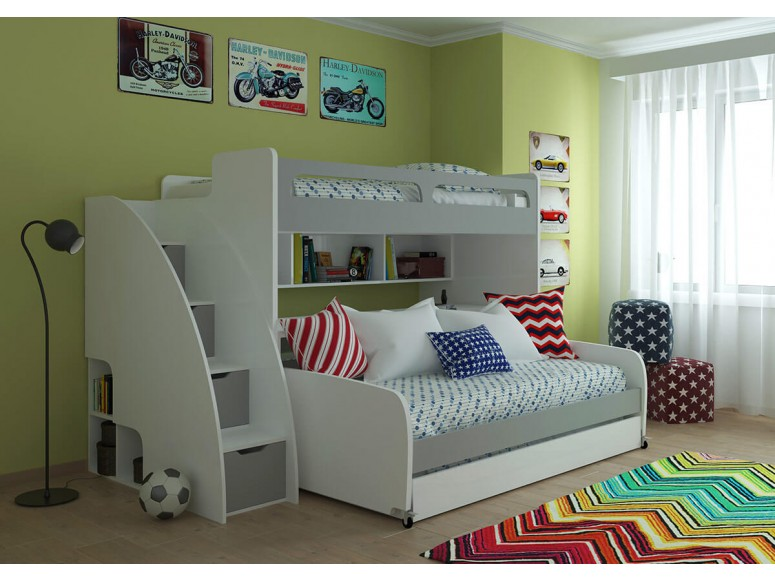Bel Mondo Twin over Twin XL Bunk Bed with Sofa, Desk and Trundle
