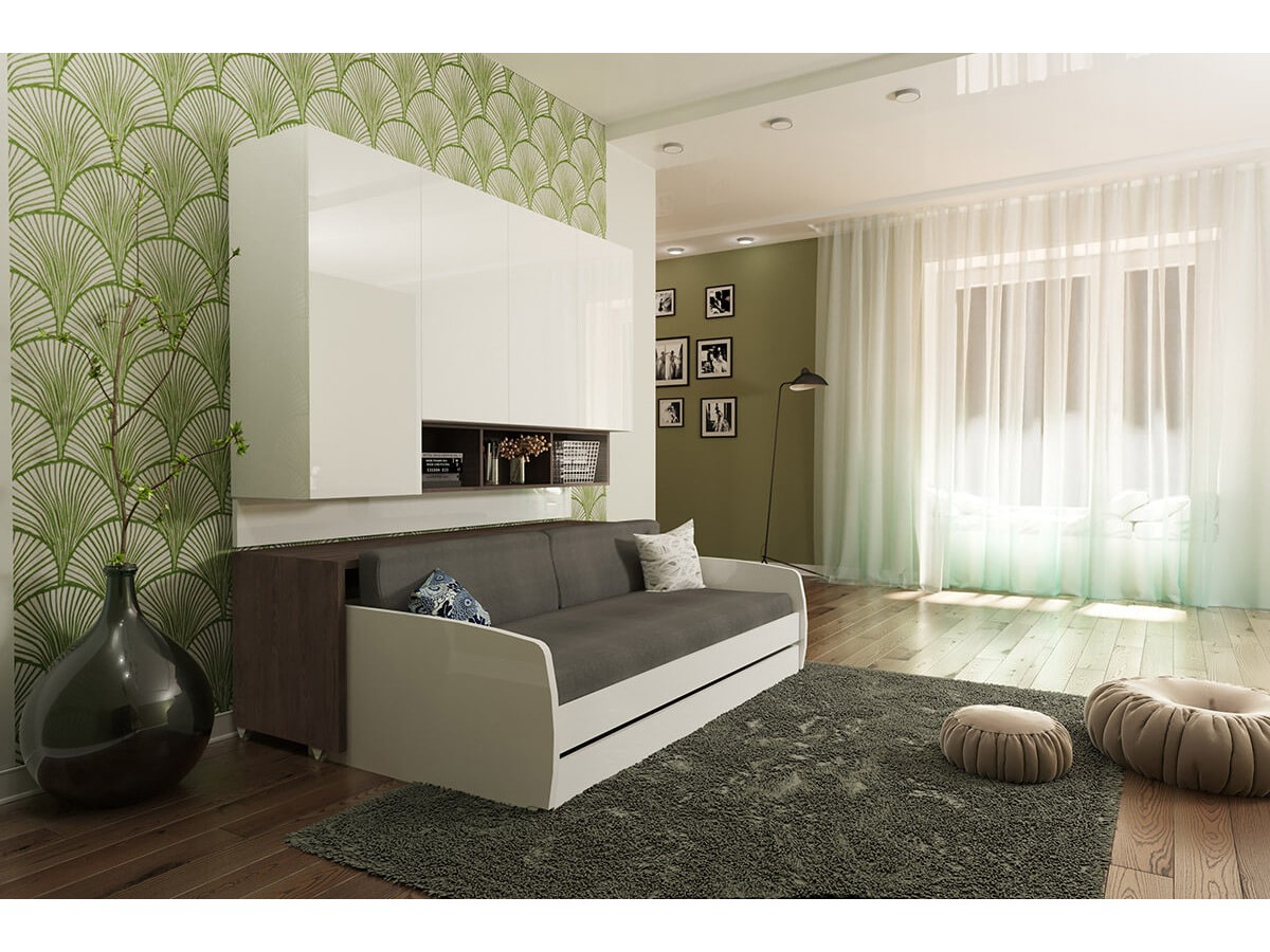 ... compact twin xl sofa bed and cabinets wall system ... 9360RI2O