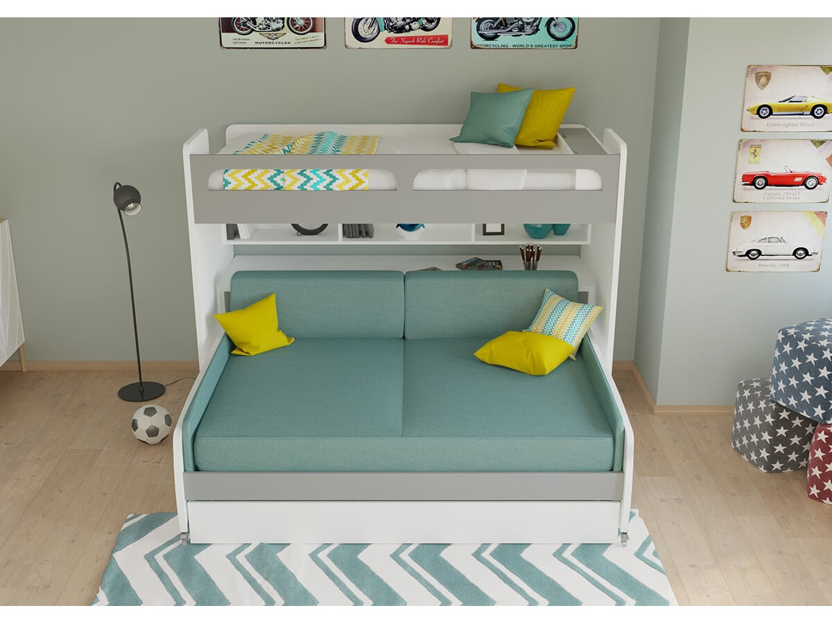 Incredible Twin Bunk Bed Over Full Xl Sofa Bed Desk And Trundle Bel Gamerscity Chair Design For Home Gamerscityorg