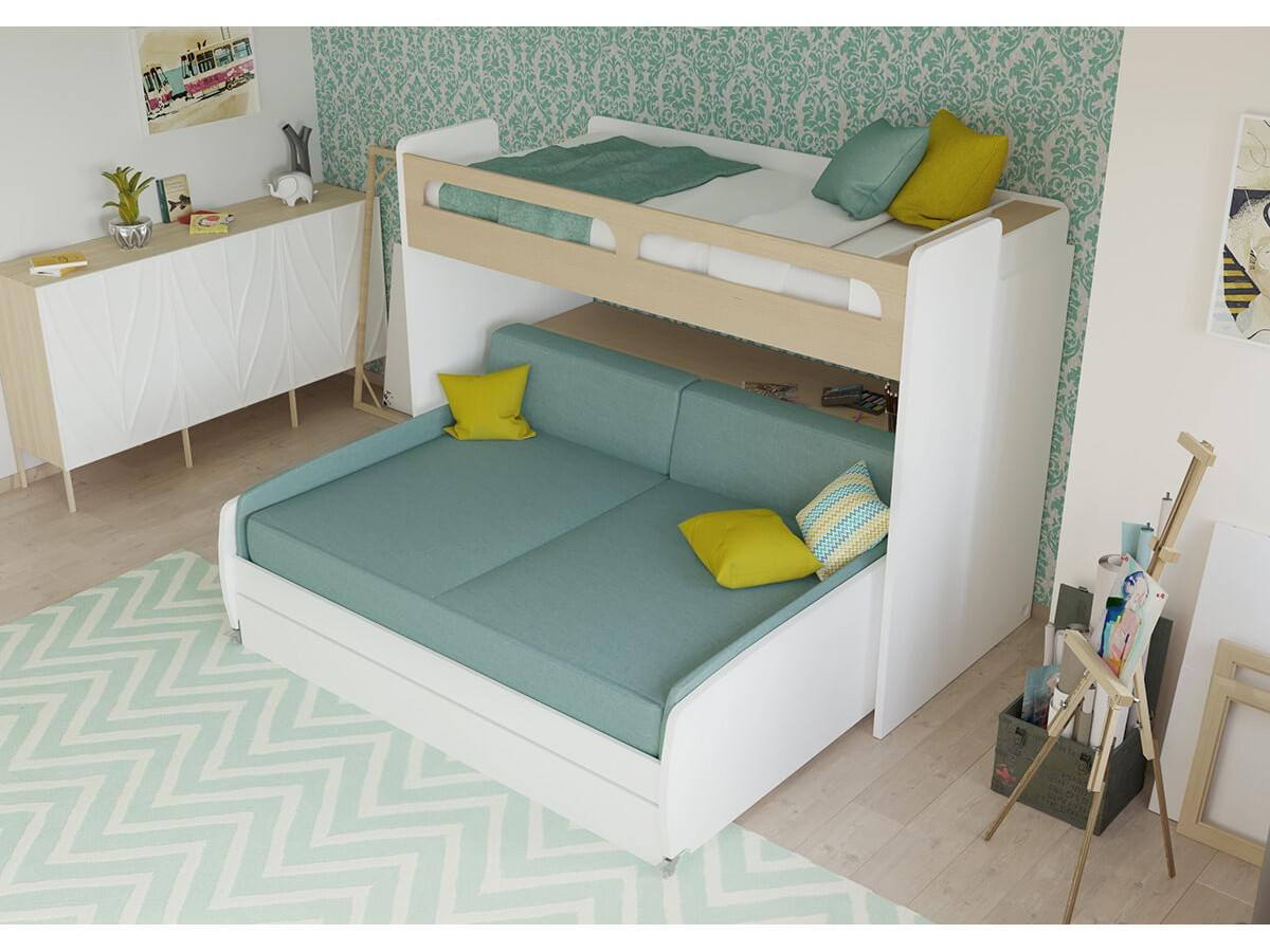 Twin Bunk Bed Over Full Xl Sofa Bed Desk And Trundle Bel