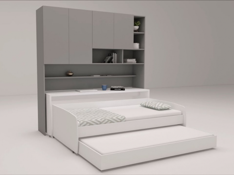 Compact Full/Full XL Sofa bed and Cabinets Wall System