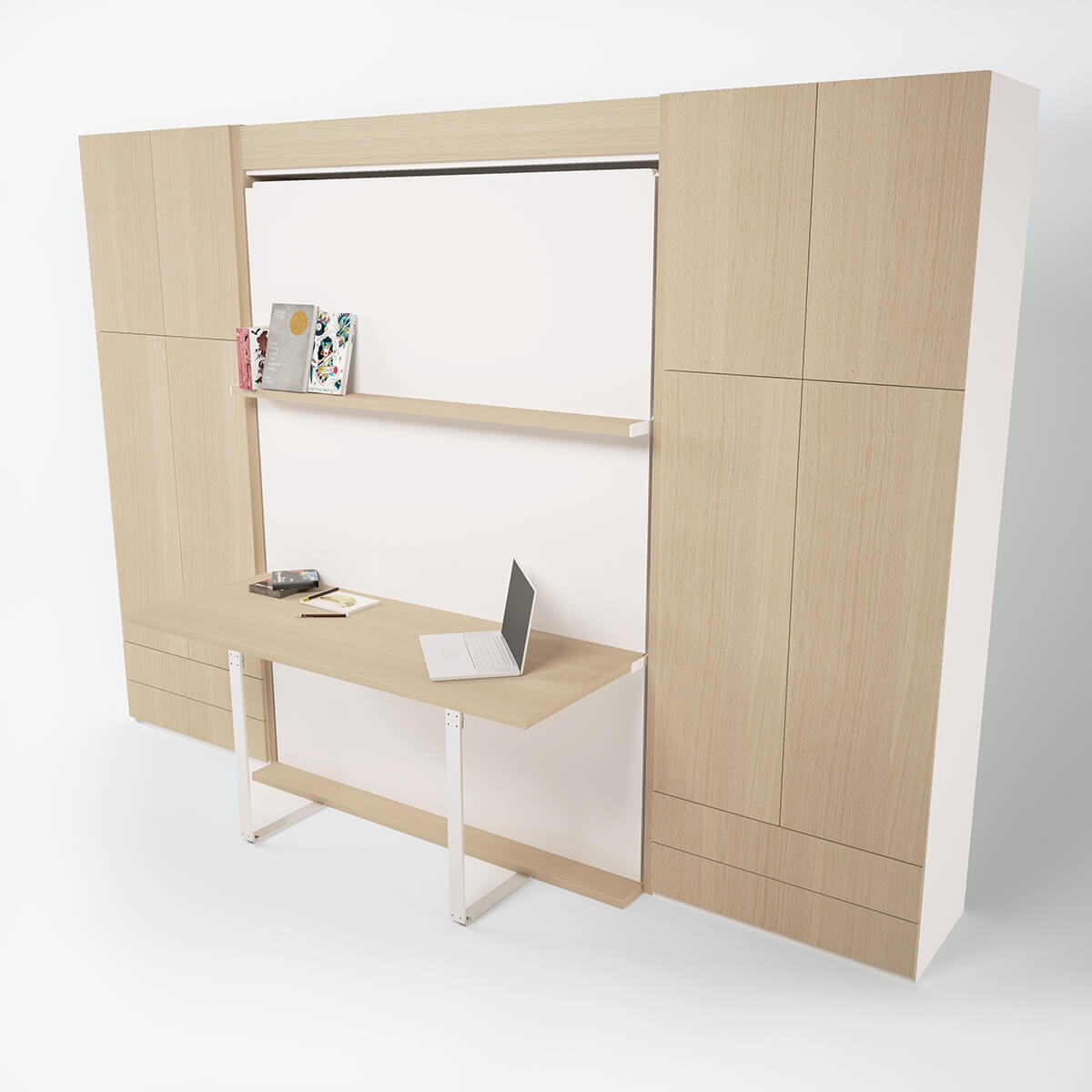 Queen Wall Bed With Desk Bellezza T