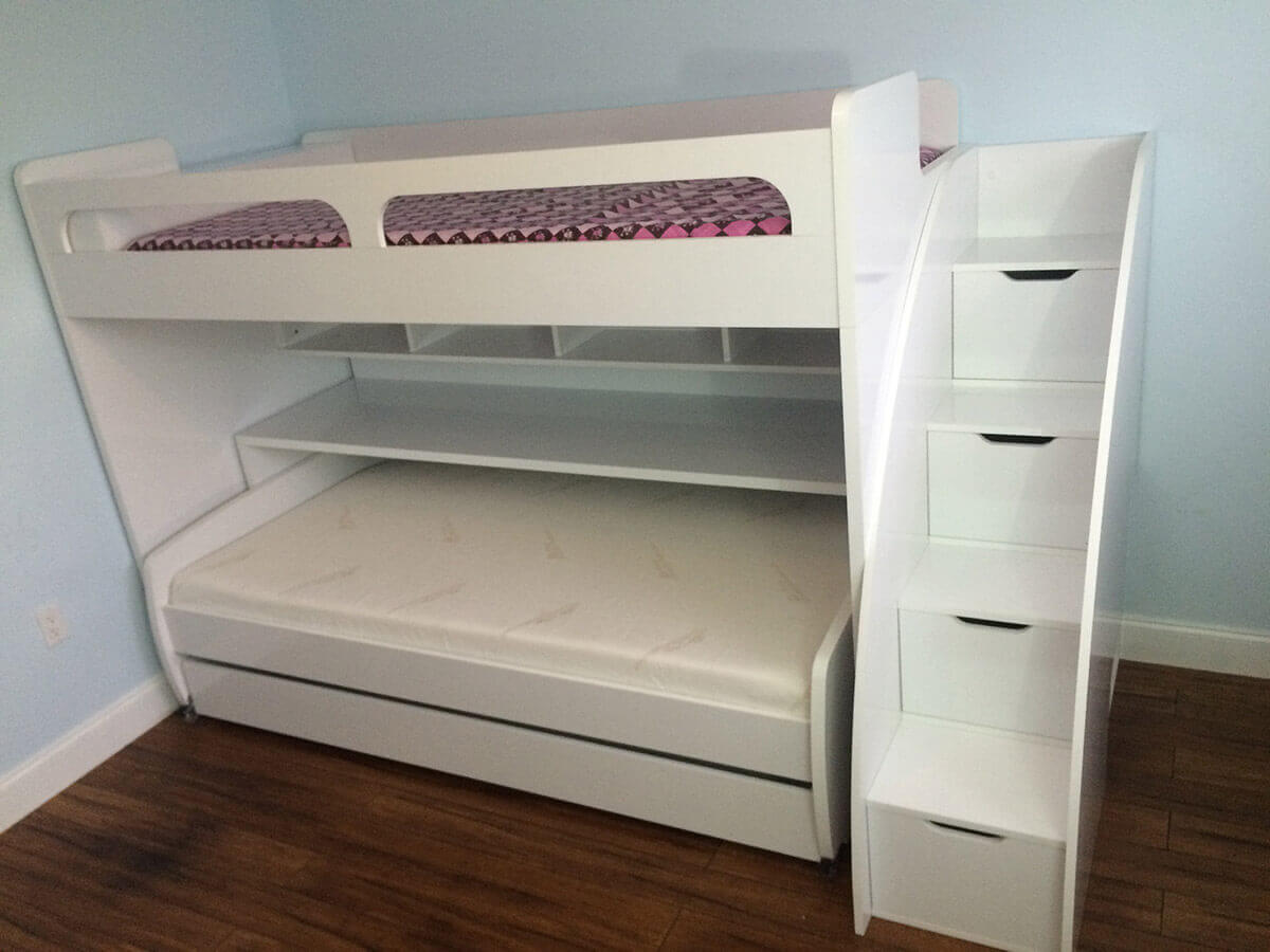 Twin Over Twin Xl Bunk Bed With Sofa Desk And Trundle Bel
